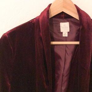 LC Burgundy Velvet Open Front Blazer, 8